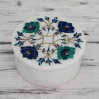 Marble inlay jewelry box, 'Floral Feast' - Floral Marble Jewelry Box from India