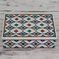 Marble inlay jewelry box, 'Floral Symmetry' - Hand Made Floral Marble Inlay Jewelry Box