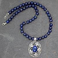 Lapis lazuli pendant necklace, 'Eden' - India Lapis Lazuli Necklace