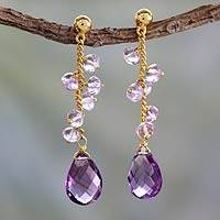 Gold vermeil amethyst dangle earrings, 'Lilac Riches' - Amethyst and Gold Vermeil Earrings