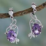 Handcrafted 8 Carat Amethyst Earrings, 'Jungle Orchid'