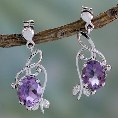 Amethyst dangle earrings, 'Jungle Orchid' - Handcrafted 8 Carat Amethyst Earrings