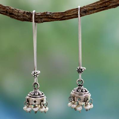 Cultured pearl dangle earrings, 'Bride of India' - Cultured Pearl Jhumki Earrings