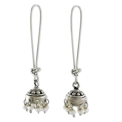 Cultured pearl dangle earrings, 'Bride of India' - Cultured Pearl Jhumki Earrings