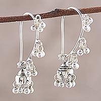 Sterling silver chandelier earrings, 'Jhumki Music' - Sterling Silver Jhumki Earrings