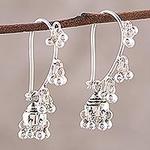 Sterling Silver Jhumki Earrings, 'Music'