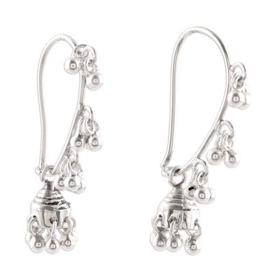 Sterling silver chandelier earrings, 'Jhumki Music' - Sterling Silver Jhumki Chandelier Earrings from India