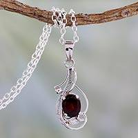 Garnet pendant necklace, 'Sweet Sonnet' - Garnet and Sterling Silver Fair Trade Necklace