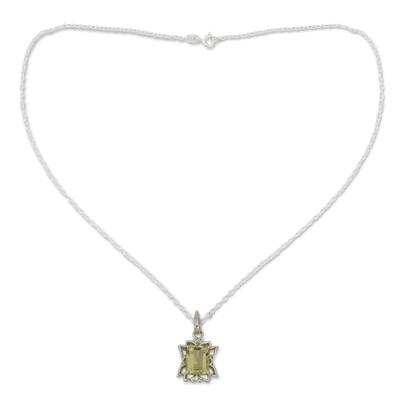 Lemon quartz pendant necklace, 'Lemon Mist' - Lemon Quartz and Sterling Silver Pendant Necklace