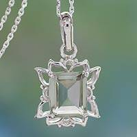 Prasiolite pendant necklace, 'Aqua Mist' - Prasiolite and Sterling Silver Pendant Necklace