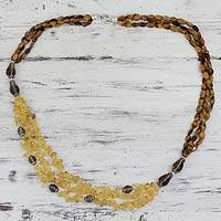 Tiger's eye and citrine beaded necklace, 'Golden Earth' - Artisan Crafted Tiger's Eye and Citrine Long Necklace