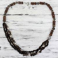 Smoky quartz and unakite beaded necklace, 'Dusk Secrets' - Smoky Quartz Unakite and Pink Pearl Handmade Necklace