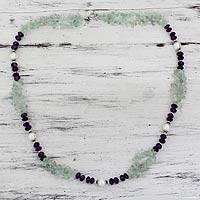 Aquamarine and amethyst beaded necklace, 'Beautiful Boldness' - Handcrafted Amethyst and Pearl Necklace
