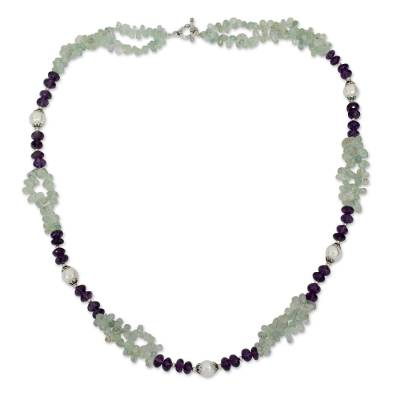 Aquamarine Amethyst and Pearl Handcrafted Necklace