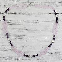 Rose quartz and amethyst beaded necklace, 'Beautiful Boldness' - Rose Quartz Amethyst and Pearl Handcrafted Necklace