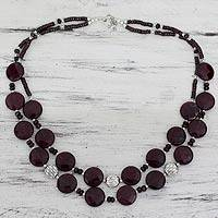 Garnet and agate beaded necklace, 'Love's Compassion' - Artisan Crafted Garnet and Agate Beaded Necklace