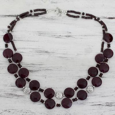 Artisan Crafted 石榴石 and Agate Beaded Necklace, 'Love's Compassion'