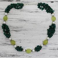 Cultured pearl and aventurine beaded necklace, 'Lucky Green' - Fair Trade Pearl Aventurine and Chalcedony Necklace