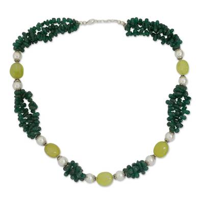 Fair Trade Pearl Aventurine and Chalcedony Necklace