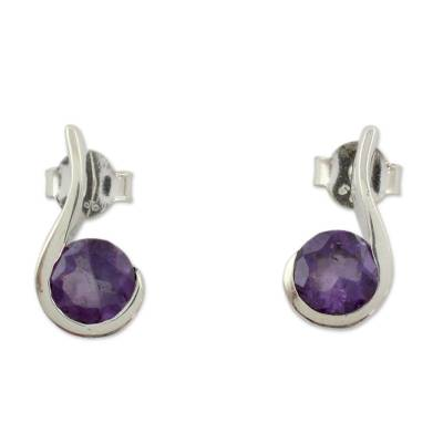 Amethyst drop earrings, 'Grape Droplet' - Amethyst and Sterling Silver Indian Earrings