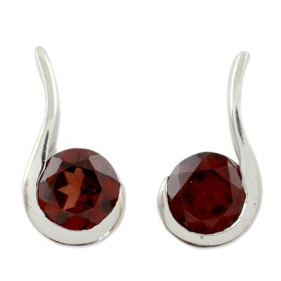 Garnet drop earrings, 'Cherry Droplet' - Garnet and Sterling Silver Indian Earrings