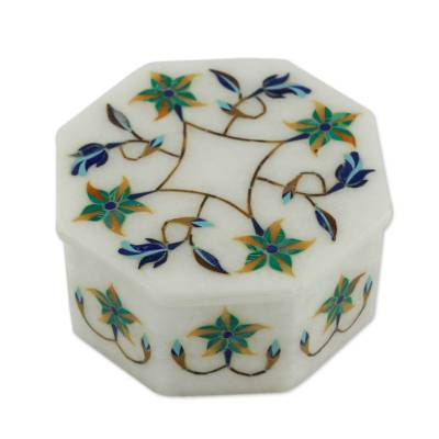 Marble inlay jewelry box, 'Green Lily Garland' - Fair Trade Marble Inlay jewellery Box