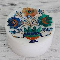 Marble inlay jewelry box, 'Mughal Bouquet' - Floral Marble Jewelry Box from India