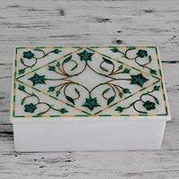 Marble inlay jewelry box, 'Mughal Ivy' - Handcrafted Marble Inlay Jewelry Box