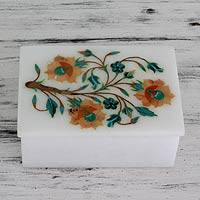 Marble inlay jewelry box, 'Summer Sonnet' - Fair Trade Marble Inlay Jewelry Box