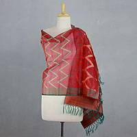 Silk shawl, 'Scarlet Fantasy' - Red and Green Silk Shawl Wrap from India
