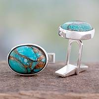 Sterling silver cufflinks, 'Elegant Enigma' - Men's jewellery Sterling Silver Cufflinks