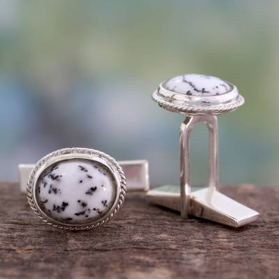 Dendritic agate cufflinks, 'Plenitude' - Dendritic Agate and Sterling Silver Cufflinks from India