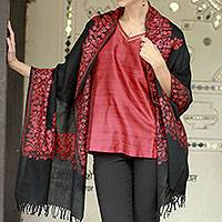 Wool shawl, 'Rose Floral Drama' - Black and Pink Embroidered Wool Shawl from India
