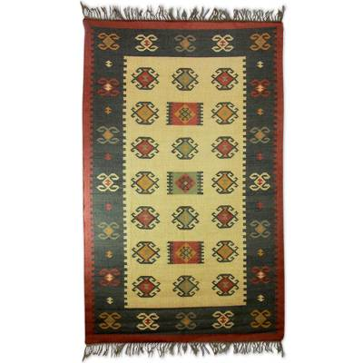 Jute dhurrie rug, 'Star Galaxy' (5x8) - Hand-woven Jute Rug with Natural Dyes