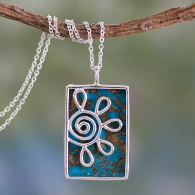 Sterling silver pendant necklace, 'Blue Blossom' - Reconstituted Turquoise Pendant Necklace