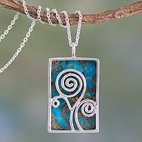 Sterling silver pendant necklace, 'Happy Tree' - Silver and Composite Turquoise Necklace India Modern Jewelry