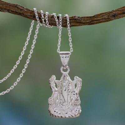Sterling silver pendant necklace, 'Luminous Ganesha' - Hindu Jewelery Silver Ganesha Necklace