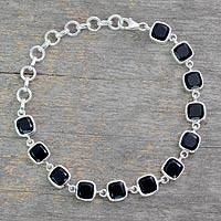 Onyx link bracelet, 'Midnight Whisper' - Onyx Bracelet Fair Trade Jewelry