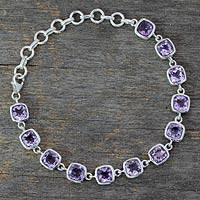 Amethyst link bracelet, 'Twilight Whisper' - Amethyst Bracelet Fair Trade Jewelry