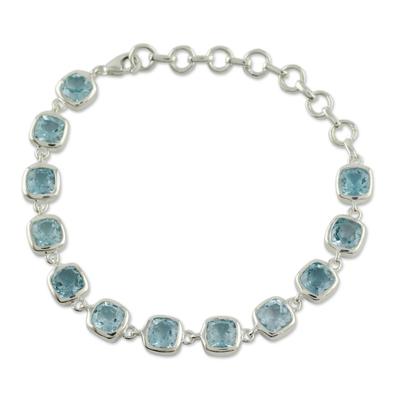 Blue topaz link bracelet, 'Ocean Whisper' - Blue Topaz Bracelet Fair Trade Jewelry