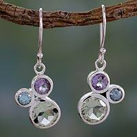 Prasiolite and amethyst dangle earrings, 'Glamorous Trio' - Prasiolite Amethyst and Blue Topaz Earrings