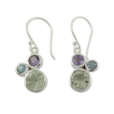 Prasiolite Amethyst and Blue Topaz Earrings