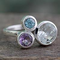 Prasiolite and amethyst cocktail ring, 'Glamorous Trio' - Prasiolite, Amethyst and Blue Topaz Ring from India