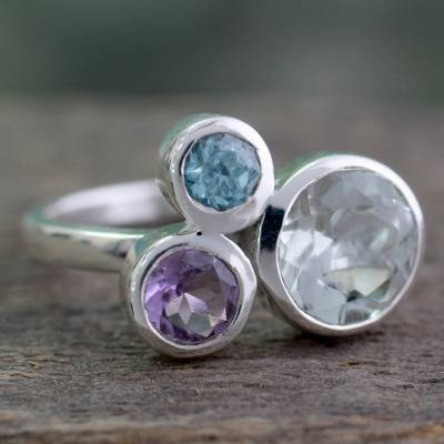 silver ring watch movie - Prasiolite Amethyst and Blue Topaz Ring