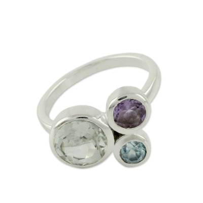 Prasiolite Amethyst and Blue Topaz Ring