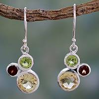 Citrine and garnet dangle earrings, 'Splendid Trio' - Citrine Garnet and Peridot Earrings