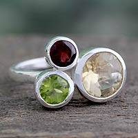 Citrine and garnet cocktail ring, 'Splendid Trio'