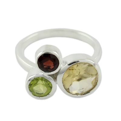 Citrine Garnet and Peridot Ring