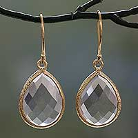 Vermeil prasiolite dangle earrings, 'Nature's Brilliance' - 12.5 Cts Prasiolite and Vermeil Earrings