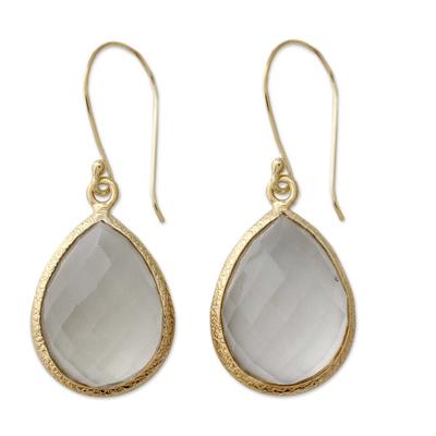 12.5 Cts Prasiolite and Vermeil Earrings